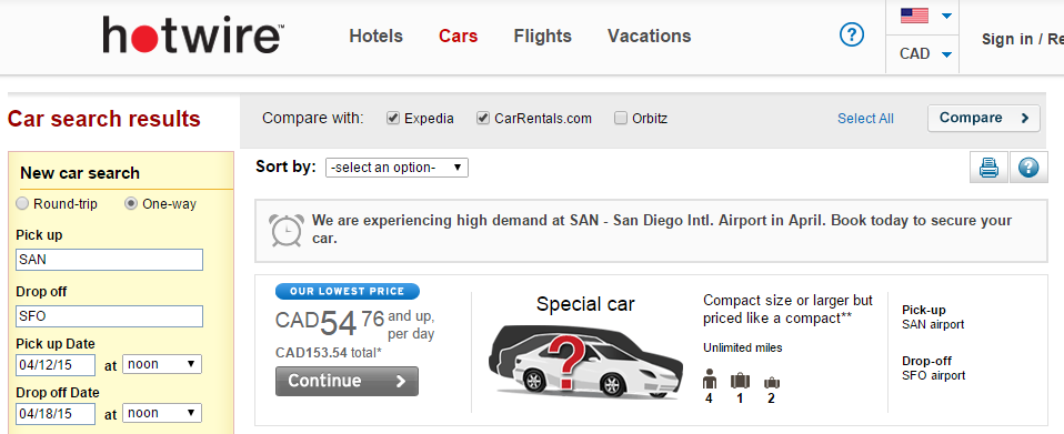 Priceline Car Rental: